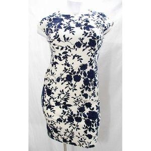 Lands End Velvet Sheath Dress Navy & Ivory Floral